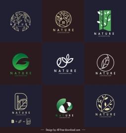 nature logotypes leaf sketch dark flat 3d design