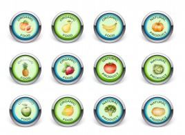nature organic badge fruite and vegetables