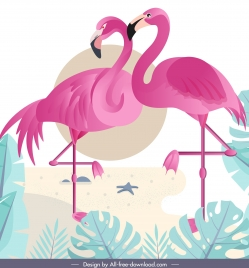 nature painting flamingo couple sketch colorful flat design