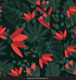 nature painting flowers sketch dark green red decor