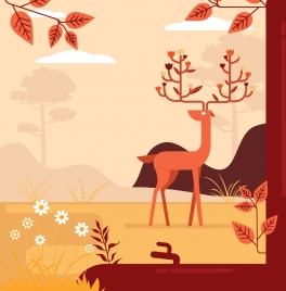 nature painting reindeer icon colored classical design