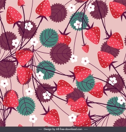 nature painting strawberries sketch colorful flat classic