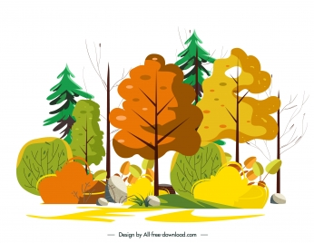 nature painting trees forest sketch colorful classic