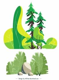 nature paintings trees stones sketch retro handdrawn design