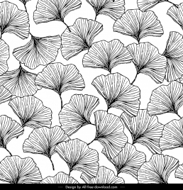 nature pattern botany icons black white handdrawn sketch
