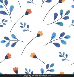 nature pattern bright colorful flat flowers leaves sketch