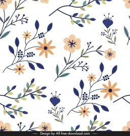 nature pattern colorful flat classical flowers leaves sketch
