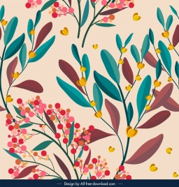 nature pattern colorful flower leaves decor classical design