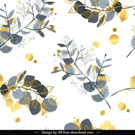 nature pattern elegant colored flat leaf branch decor
