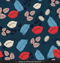 nature pattern floral leaves sketch colorful classic handdrawn