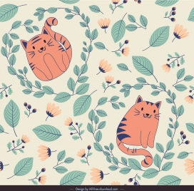 nature pattern flowers cat icons colored classical sketch