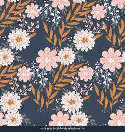 nature pattern flowers leaves decor colorful classic