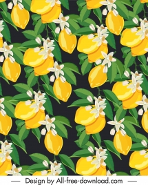 nature pattern luxuriant blooming fruits sketch colorful retro