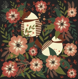 nature pattern red flowers songbirds icons decoration