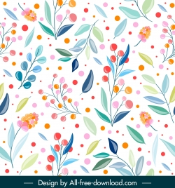 nature pattern template bright colorful handdrawn decor