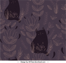 nature pattern template cats leaf sketch dark retro
