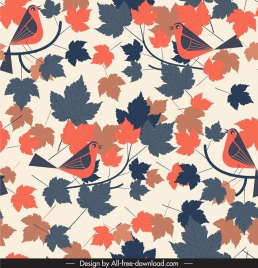 nature pattern template colorful classical birds leaves decor