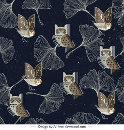nature pattern template leaf owl sketch dark flat design