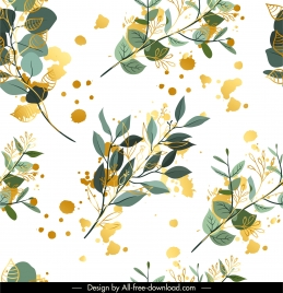 nature pattern template leaves branches sketch grunge decor
