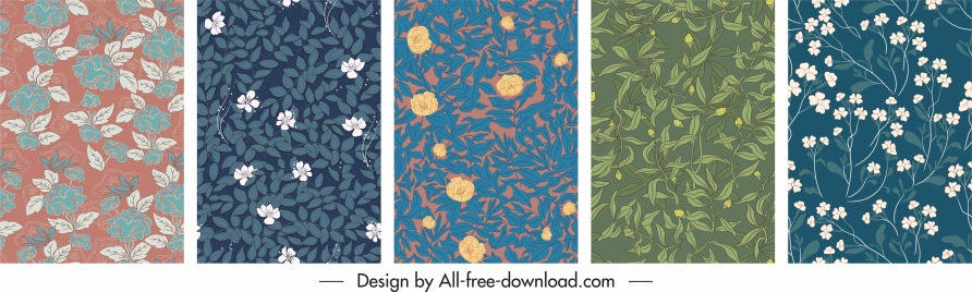 nature pattern templates flat retro handdrawn design
