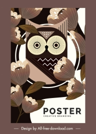 nature poster owl flowers sketch classic design