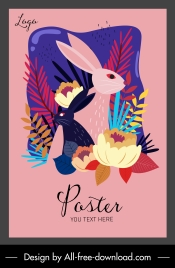 nature poster rabbit flowers sketch classical colorful decor