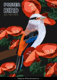 nature poster template colorful flowers bird perching sketch