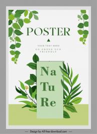 nature poster template elegant bright green leaves decor
