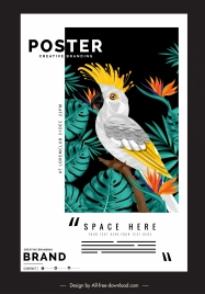 nature poster template tropical parrot flowers decor
