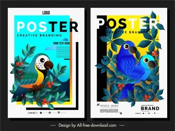 nature poster templates colorful parrots leaves decor