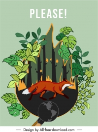 nature protection banner forest fire disaster fox sketch
