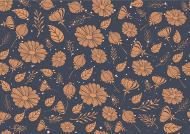 nature seamless pattern contrast flowers and leaves decoration