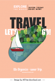 nature travel poster template sail lake forest sketch