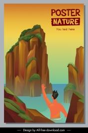 nature trip poster template sea scenery tourist sketch