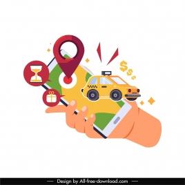 navigation application icon smartphone taxi location sketch
