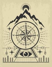navigation background compass mountain icons retro handdrawn design