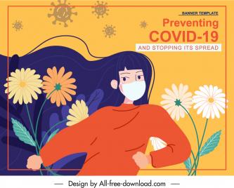 ncov banner classic handdrawn lady flora virus sketch