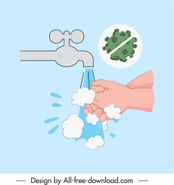 ncov epidemic banner handwash virus cross sketch