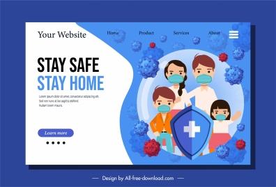 ncov epidemic webpage template protected people viruses sketch