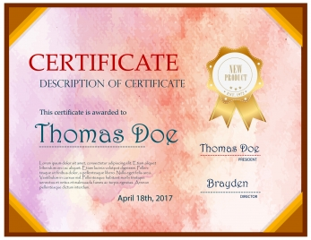 new product certificate illustration with retro pink style
