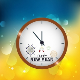 new year background round clock icon decoration