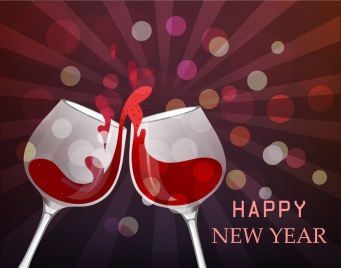 new year banner clinking glasses icons sparkling rays