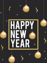 new year banner shiny golden baubles decoration