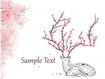 new year card with deer and peach blossom
