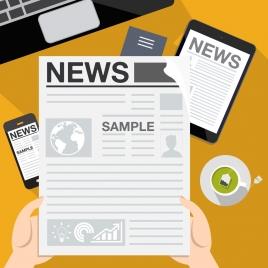 news media concept newspaper smartphone icons