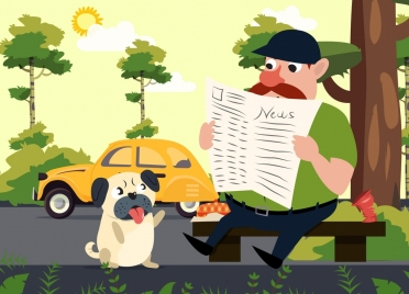 news theme man puppy icons colored cartoon design