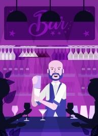night bar background dark violet design bartender icons