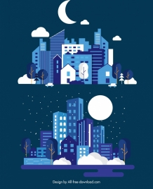 night city background templates buildings moon icons decor