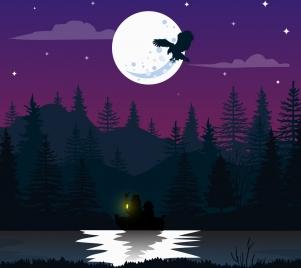 night natural scene drawing moonlight lake bird icons