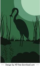 night nature painting dark silhouette moonlight crane sketch